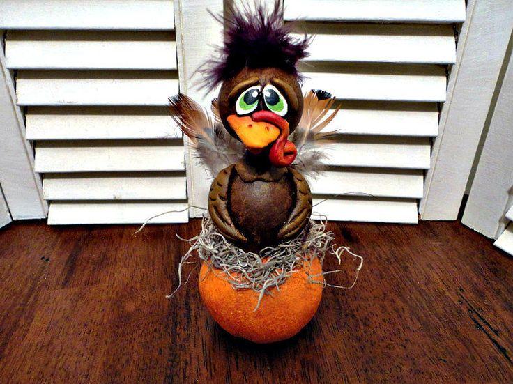 Handpainted Primitive Autumn Folk Art  Fall Turkey Pumpkin  Gourd