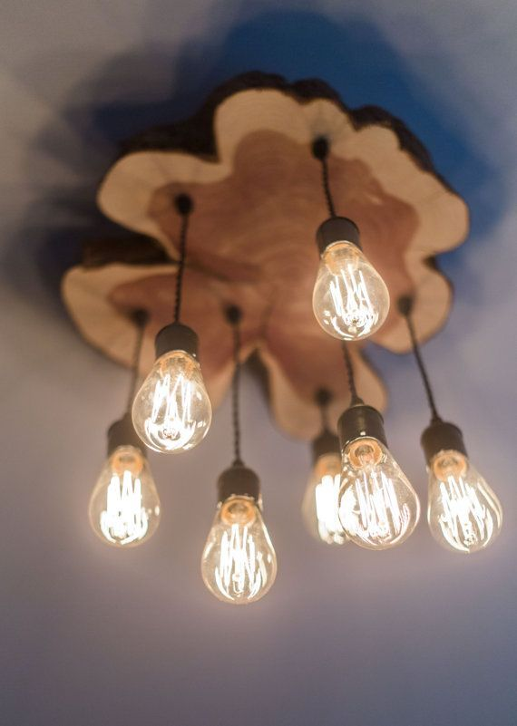Custom Made Modern Live-Edge Cedar Chandelier Light Fixture With Edison Bulbs