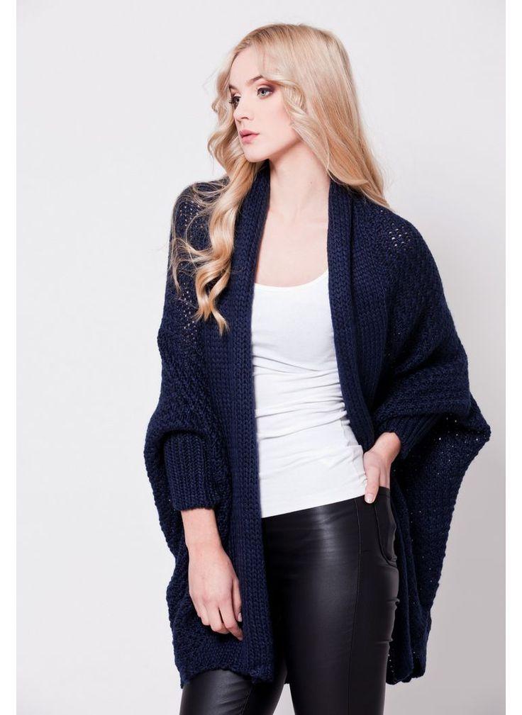 SWETER KARDIGAN OVERSIZED GRANATOWY I CARDIGAN SWEATER NAVY I  MONASHE.PL - Sklep online z modną odzieżą. Bluzki, sukienki, torebki, obuwie, akcesoria.