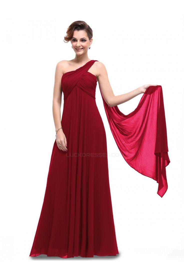 Empire One-Shoulder Long Burgundy Chiffon Bridesmaid Dresses/Evening Dresses/Maternity Dresses BD010296