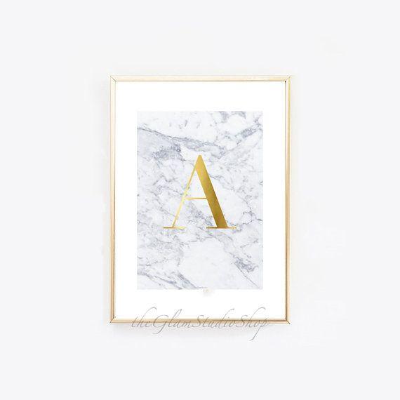 Monogram Initial Custom Letter Printable Gold foil Initial letter white Marble print Instant download Gold letter printable art