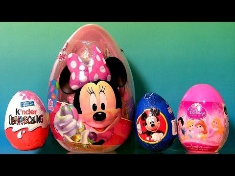 22 Surprise Eggs Bags Giant Minnie Mouse Easter Egg PeppaPig Disney Prin...