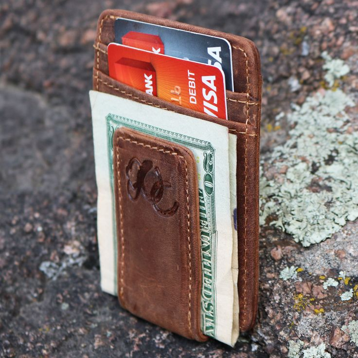 Mens Front Pocket Wallet with Money Clip by Urban Cowboy - 100% GENIUNE LEATHER - made of the finest distressed cowhide leather - HIGH FUNCTIONALITY - 3 card slots for credit cards, ID cards, business
