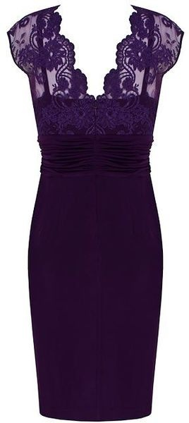 Alexon Dark Purple Lace Top Dress in Purple - Lyst