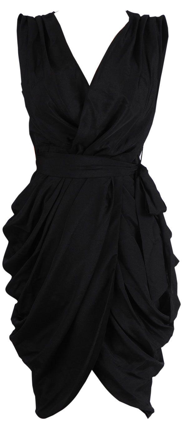 Clothing :: Dresses :: Glamour Dresses :: 'Monroe' Black Chiffon Wrap Dress - Celeb Boutique | Be Obsessed | Brit Designed Bandage Bodycon D...