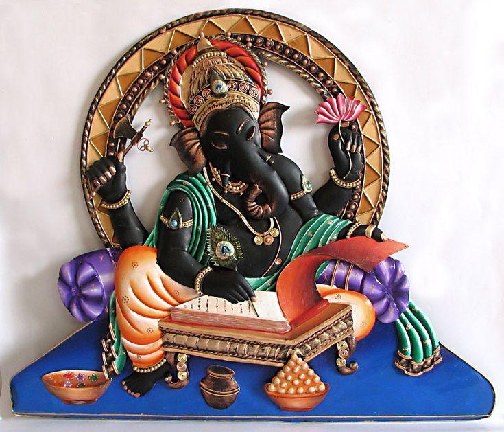 Lord Ganesha Writing Mahabharata - Iron Craft Wall Hanging for Home Decor