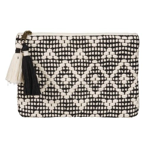 Black and White Cotton Clutch with Ethnic Print