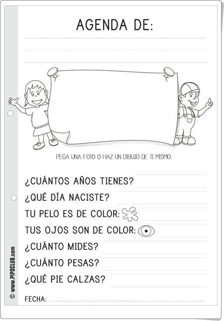 Agenda infantil de Pipoclub.com