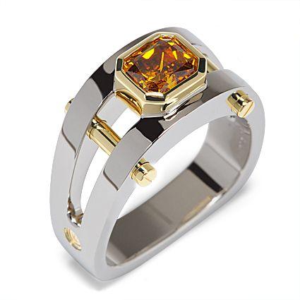Post Modern 134-R01:  1.82ct Fancy Deep Brownish Yellowish Orange Radiant Cut Diamond set in 18K Yellow and White Gold.
