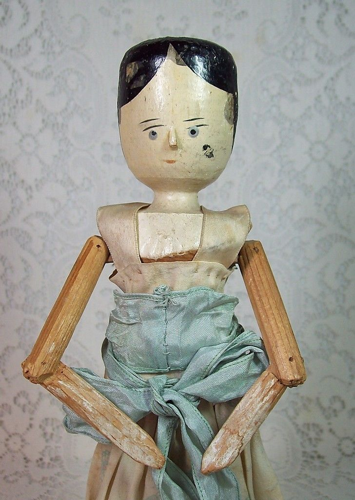 Antique German Peg Wooden Doll with Original Clothes ...