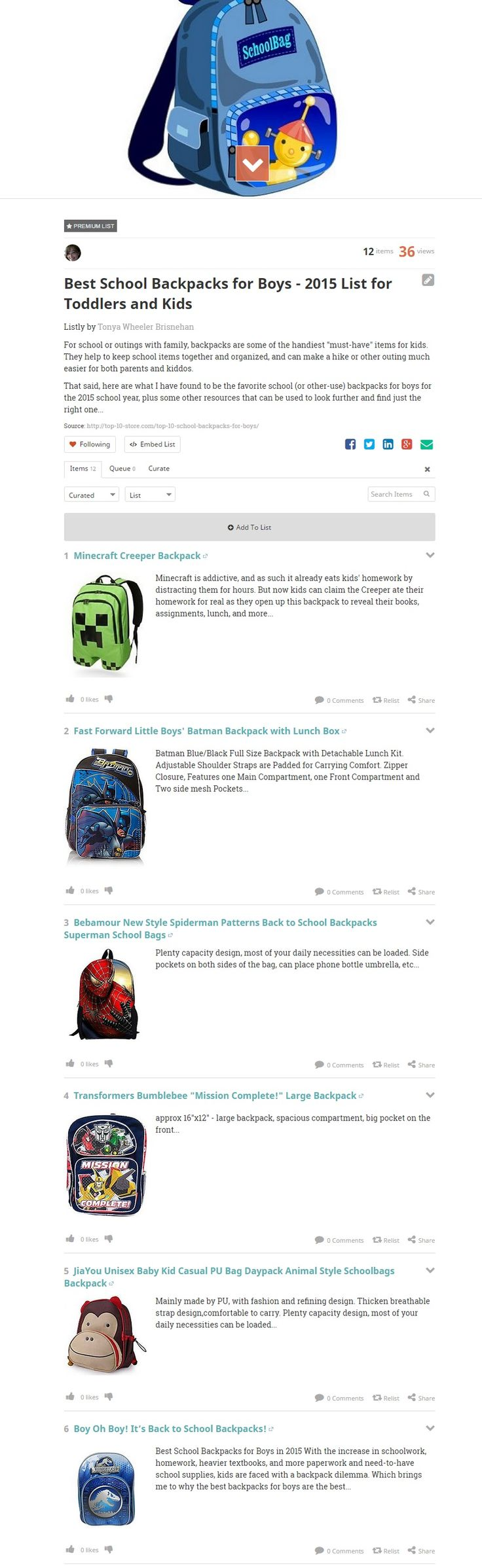 Best School Backpacks for Boys - 2015 List for Toddlers and Kids @ Listly