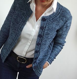 """""""Chanel Blues"""", by Hinterem Stein < Knit seamlessly from the top down, using 2 different yarn weights held together for a Chanel bouclé effect / rav"""