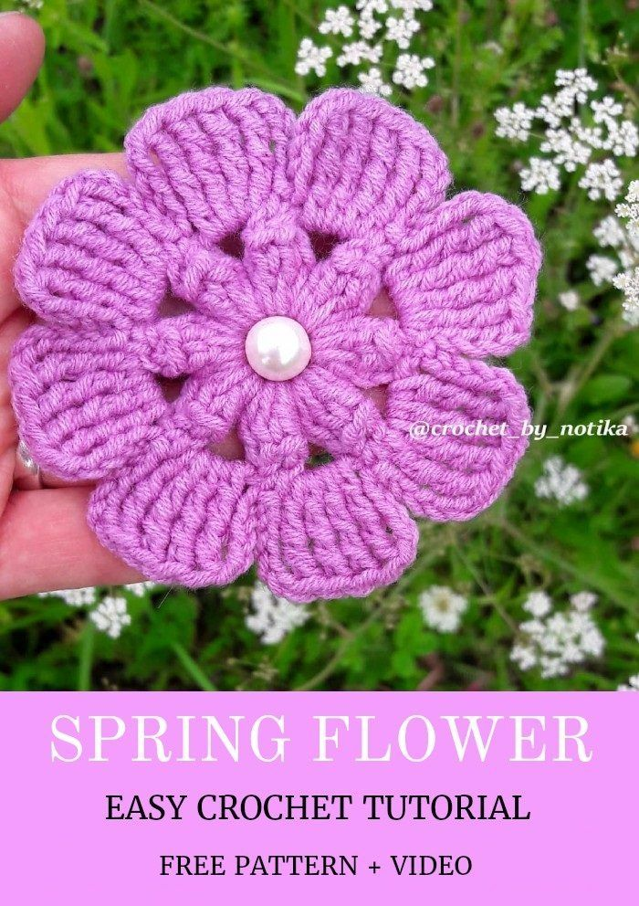 Easy Crochet Flower Tutorial Learn To Crochet With Images