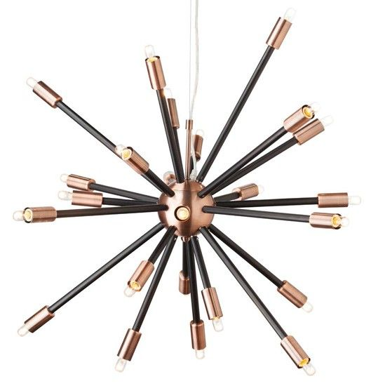 Sputnik Lamp. Nuevo Living Sergei Sputnik Pendant Lamp in Black and Copper. Find more sputnik lamps and more at www.ModernistLighting.com
