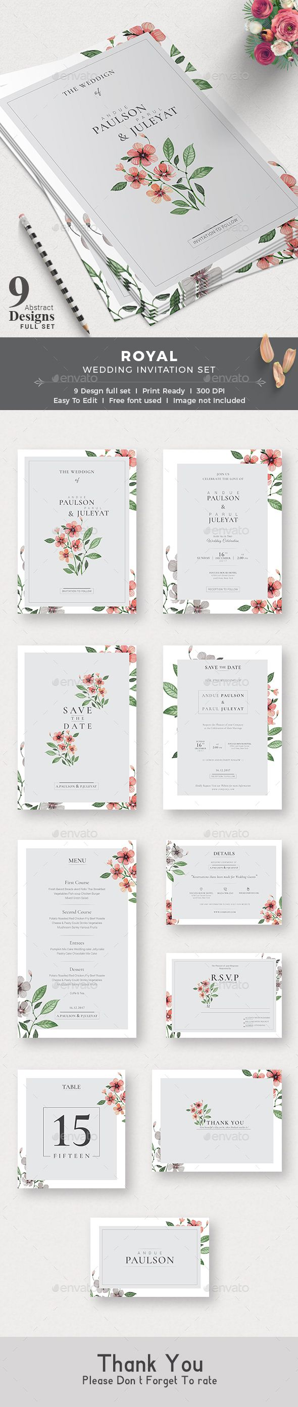 Wedding Invitation — Photoshop PSD #flower #postcard • Available here ➝ https://graphicriver.net/item/wedding-invitation/20660211?ref=pxcr