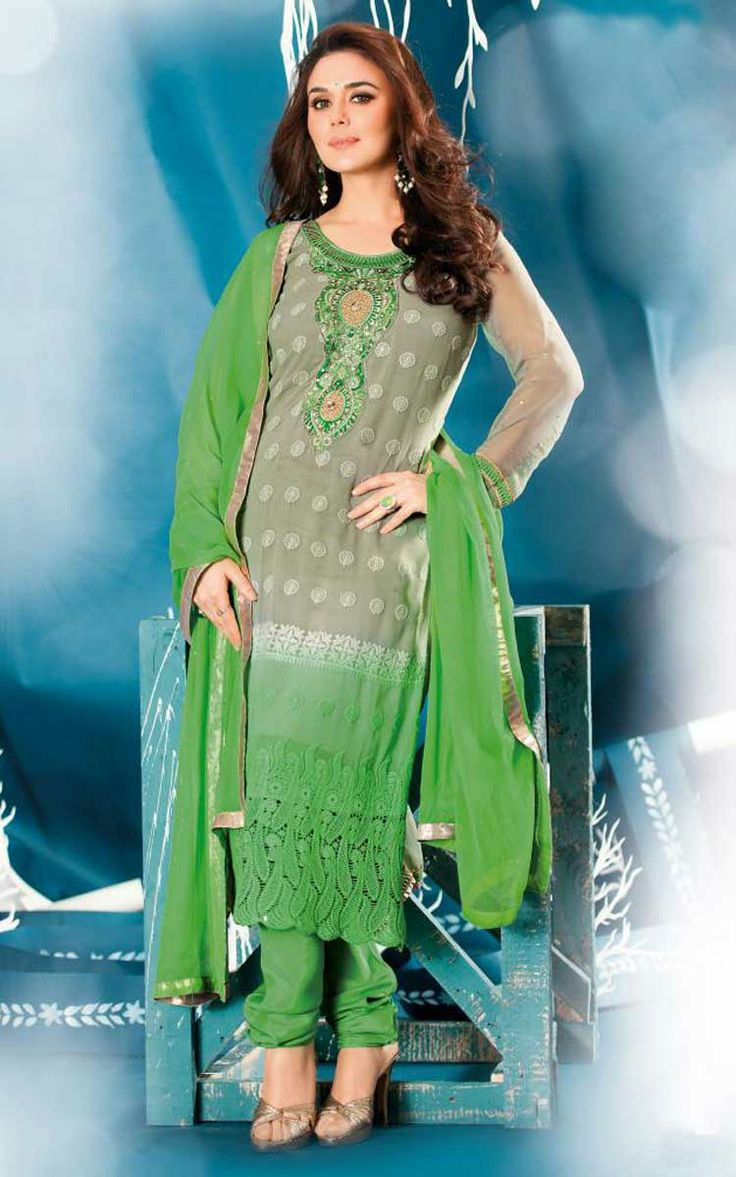 GREY & GREEN GEORGETTE EMBROIDERED SALWAR KAMEEZ - ZIN 9013