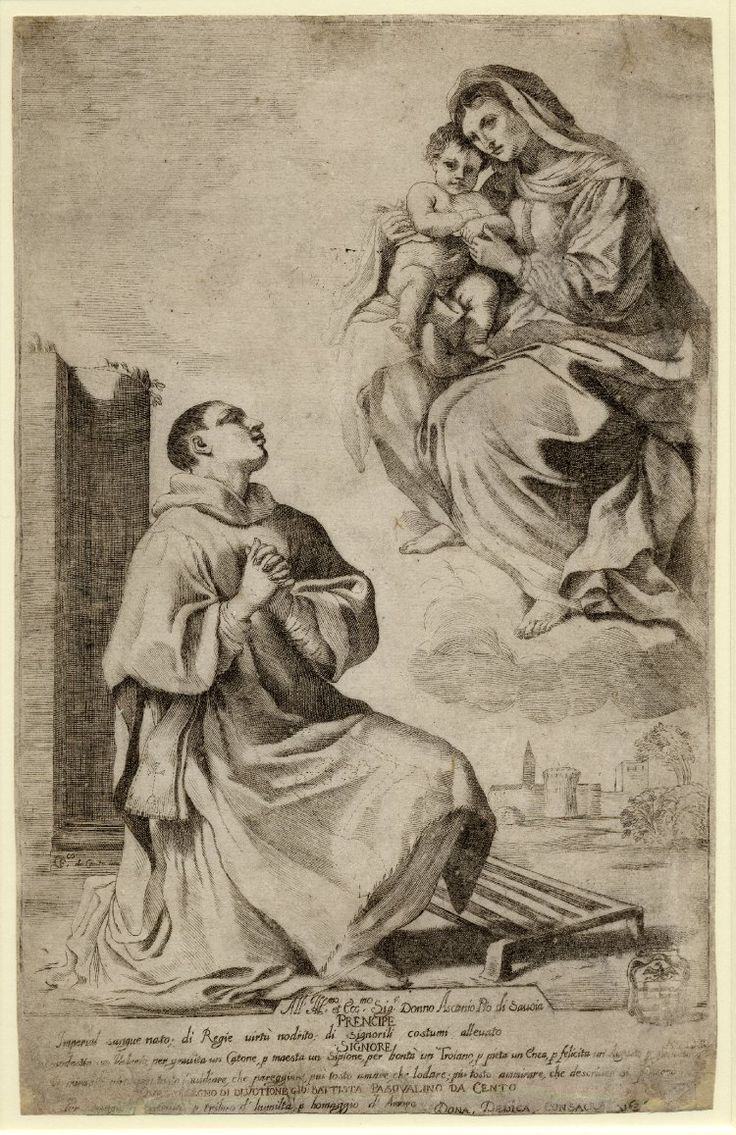 The Virgin and Child appearing to St Laurence. 1626 Engraving  Producer nameAfter: Guercino biographyPrint made by: Giovanni Battista Pasqualini biography  School/styleItalian  Date1626