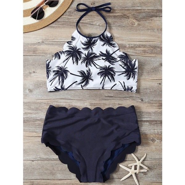 High Waist Scalloped Tropical Bathing Suit (870 RUB) ❤ liked on Polyvore featuring swimwear, bikinis, high waisted swimsuit, swim suits, bathing suits two piece, high waisted swim suit and high rise swimsuit