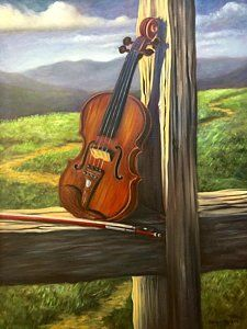 Painting - Violin by Randol Burns