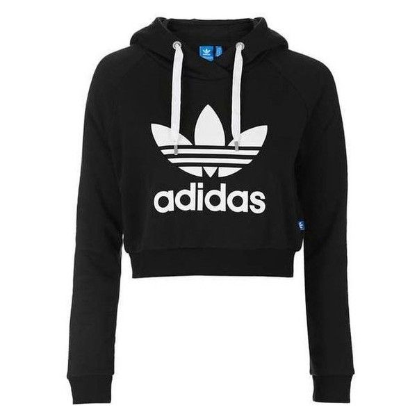 Cropped Hoodie by Adidas Originals ❤ liked on Polyvore featuring tops, hoodies, cotton hooded sweatshirt, adidas originals, hooded sweatshirt, cotton hoodies and hoodie top
