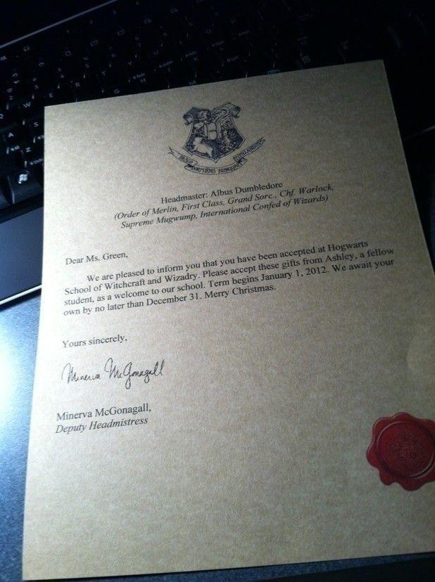 94 best harry potter images on Pinterest Harry potter stuff - hogwarts acceptance letter