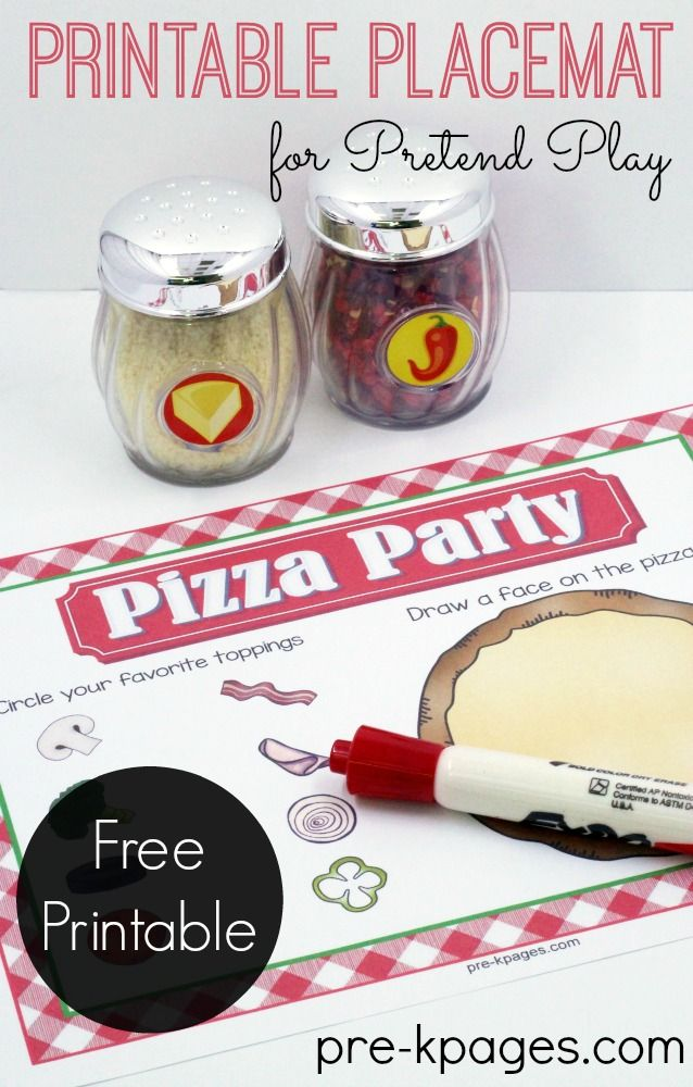 Printable Placemat for a Pretend Play Pizza Shop for Preschoolers or Kindergarten kids.
