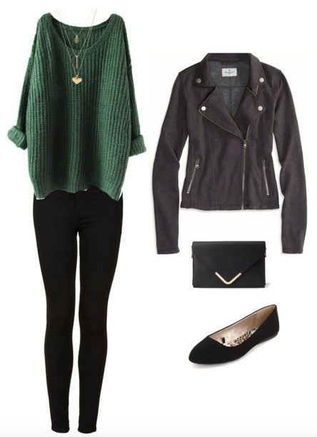 Sleek dark wash jeans, a casual yet flirty top, and staple black flats