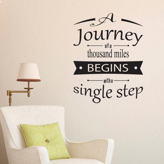 A Journey Of A Thousand Miles Quote Wall Sticker   Quote Wall Decor