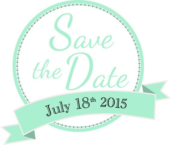 Make your Facebook avatar this Save the Date clipart download in mint green #mint green #wedding www.oliverink.etsy.com