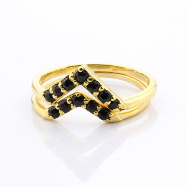 Jane Heng 7 Stone Temple Ring - Black Quartz and Yellow Gold | Jane Heng Jewellery