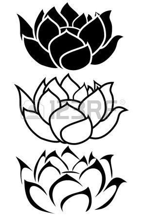 une fleur de lotus tatouage tribal ensemble Banque d'images