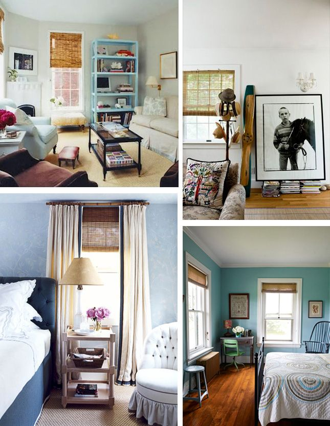 notice how blinds in lower left picture are mounted outside the window and high to allow light