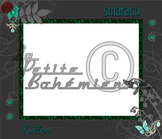 Miniset 05 - Decorative Frame MAY - EMERALD | This is one of the 12 minisets that I'm offering in my Czech Fler shop at the moment. Frames with English texts will soon be available in our Etsy shop, too. (approx. $1.80 after the conversion)