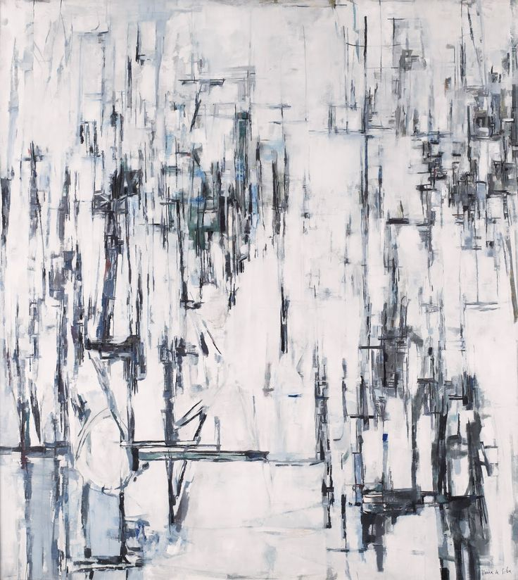 'Ode a l'hiver' was painted by Viera da Silva in 1960. The painting is monochromatic, with only black and white tones present, creating a simple and minimalist mood. Harsh marks are used to create depth and texture, making the painting more interesting, as there appears to be a build up of layers. There are empty white areas which contrasts with areas that are filled with line, giving the overall image balance because it is not busy. The lines are predominantly vertical, with few horizontal…