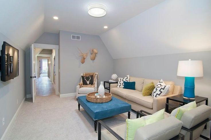 Martha O'Hara Interiors - living rooms - blue gray walls, blue gray wall color, beige carpet, beige carpeting, wall to wall carpeting, carpe...