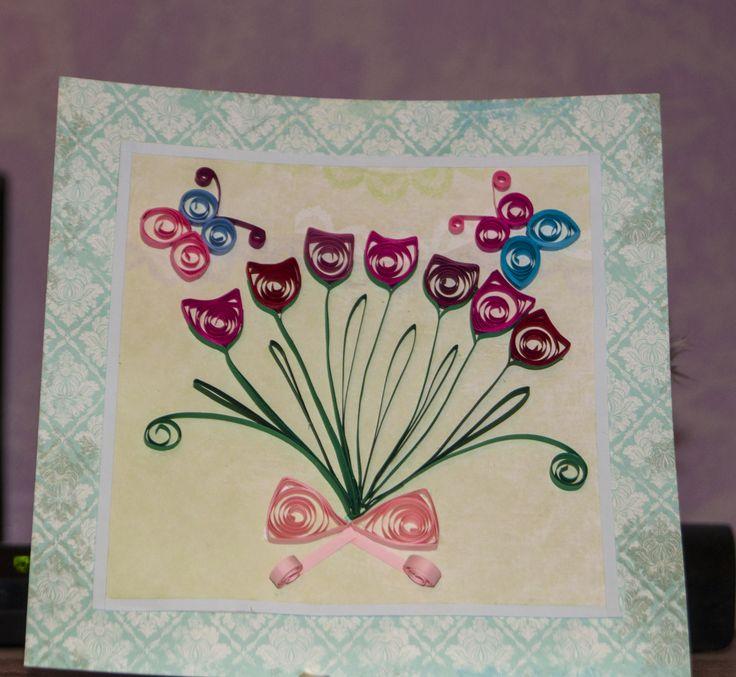 квилинг, quilling, тюльпаны, бабочки, самодельная открытка