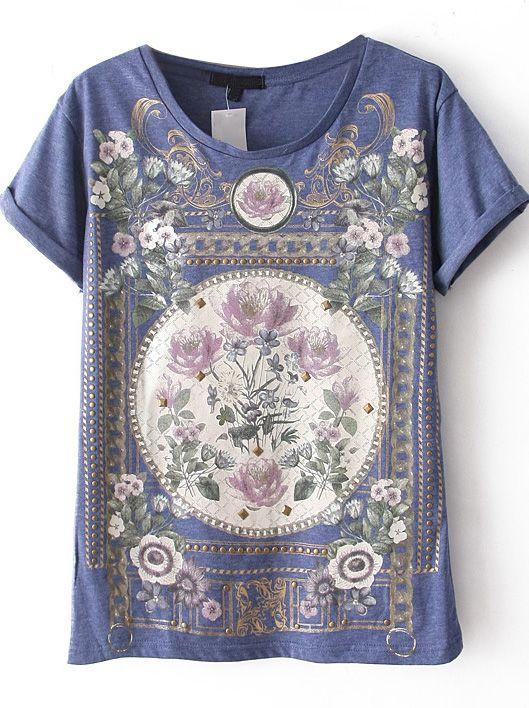 Blue Short Sleeve Floral top - Sheinside.com