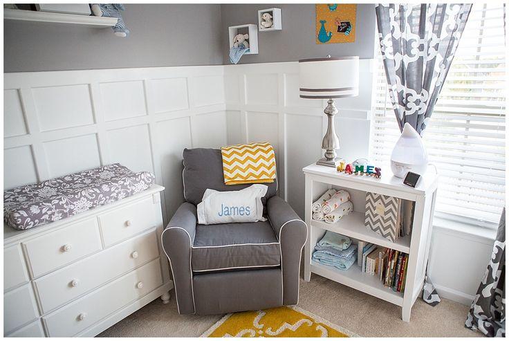 Project Nursery - Gray and Yellow Preppy Nursery Glider Corner