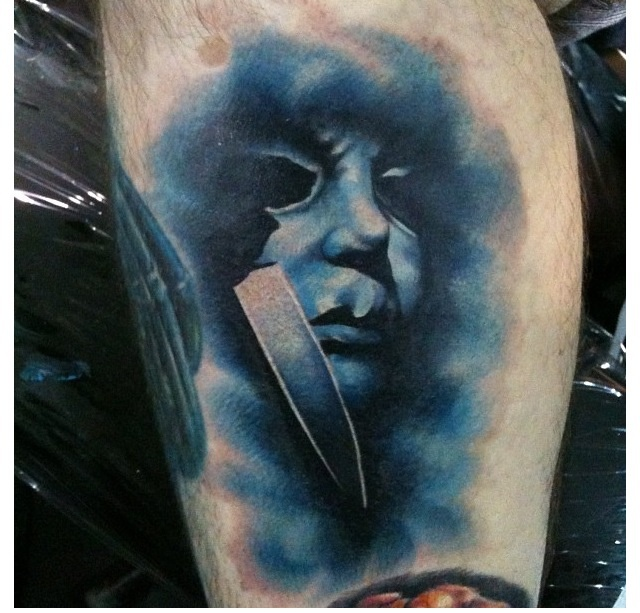 Halloween michael myers tattoo done by tom taylor of deep for Michael myers tattoo
