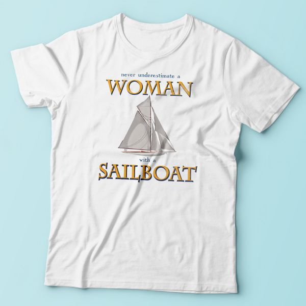 Woman with a sailboat - T-Shirt | Nautination gifts for sailors, boaters…