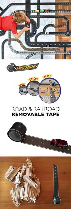 PlayTape - Peel n' Stick Road & Rail Tape.  Create train and car sets for none of the hassle and a fraction of the cost of traditional tracks with PlayTape by InRoad Toys. Simply unroll and stick tape to create tracks on any flat surfaces, including ramps and bridges. Then, effortlessly peel off tape without damage and recycle it for quick, effortless disposal at home or on the road.  Get 20% OFF your entire purchase plus FREE shipping on orders over $25 with promo code SPRINGPLAY20.