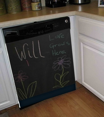 Chalkboard Dishwasher Art Cover  Add Some Fun To Your Kitchen With A Chalkboard Dishwasher Cover. You Can Use It Has A Temporary Decoration Or Sign Or Keep It On All The Time As There Are So Many Uses For A Chalkboard In Your Kitchen.    Make A Shopping List, Write A Message To Your Family Or Just Let The Kids Draw And Be Creative. You Can Use Any Color Chalk!