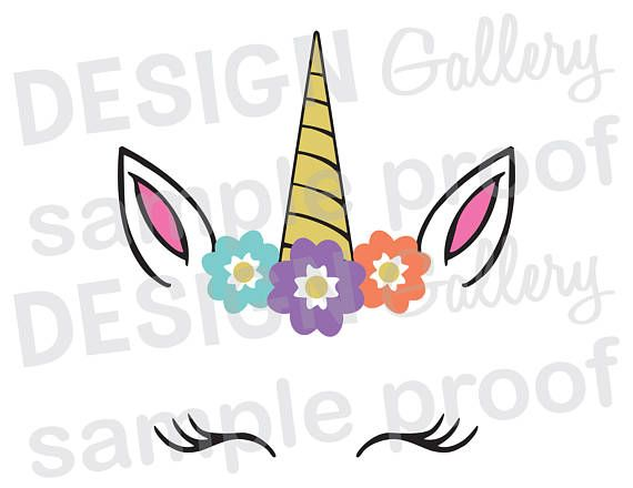 Unicorn Face SVG DXF PNG JPG cut files Birthday Party Believe Magical Rainbow One first Two Three Four Five Banner Cake Topper DIY decorations decor art