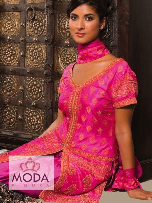 Rani pink katan silk Punjabi churidar salwar kameez