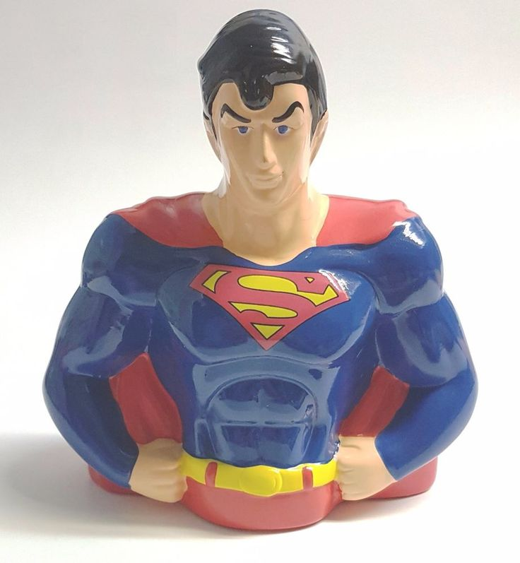 "Ceramic Superman Bust Coin Bank FAB Starpoint - 7.75"" (19.8 cm)"