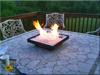 Smokeless portable propane fire pit perfect for RV camping, outdoor patio tables, or custom fire pit tables.