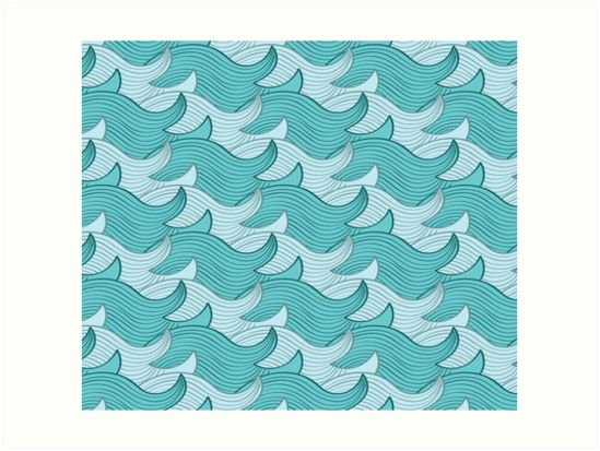 California Surf Wave Pattern Illustration by Gordon White | California Surf Art Prints Available in 4 Sizes @redbubble --------------------------- #redbubble #stickers #california #losangeles #la #surf #wave #cute #adorable #pattern #frame #print #artprint #wallart
