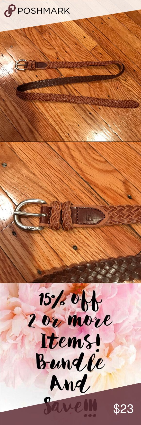 """NWOT Tommy Hilfiger braided leather belt Brand new braided leather belt/braided loops   Color: tan leather  Width: 7/8""""  Size: medium                                           Comes from pet free/smoke free environment. Check out my other items! ✨Bundle to save ✨ Tommy Hilfiger Accessories Belts"""