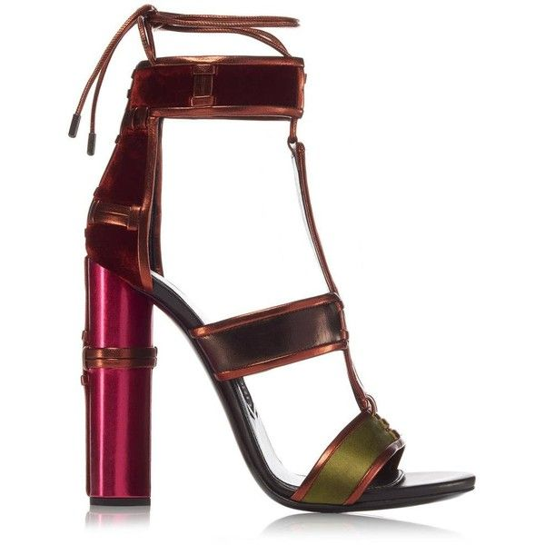 TOM FORD Patchwork Sandal ($1,490) ❤ liked on Polyvore featuring shoes, sandals, heels, leather shoes, high heel sandals, ankle strap shoes, tom ford sandals and wrap around sandals