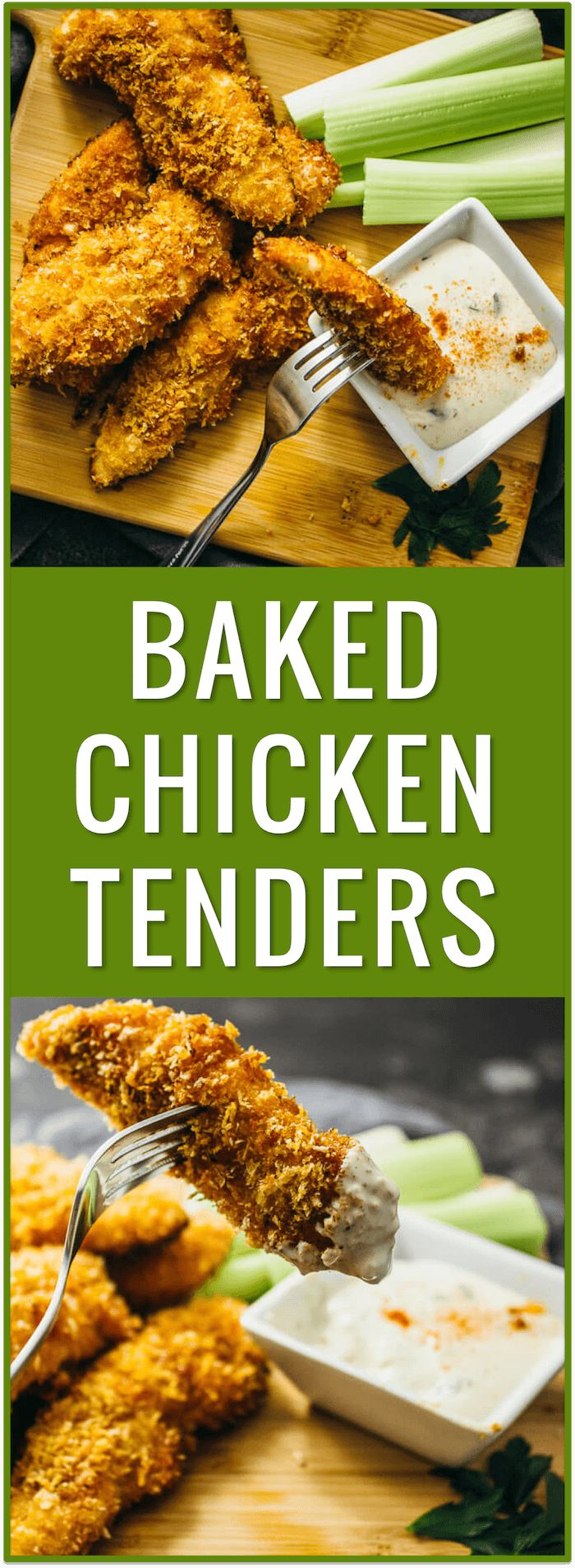 Baked chicken tenders with honey and cayenne - These crispy oven-baked chicken tenders are sweet and spicy, with only 5 ingredients in this recipe: chicken, panko bread crumbs, honey, butter, and cayenne powder. via @savory_tooth
